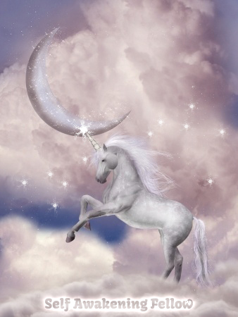 14548211 - unicorn in the sky with pink moon